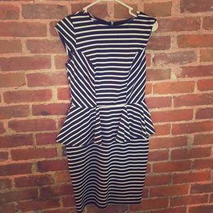 Peplum style striped dress